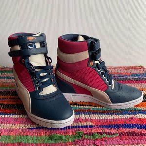 Puma Sky Contact Wedge Heel High Top Pink Sneakers